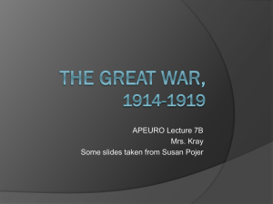 The Great War, 1914-1919