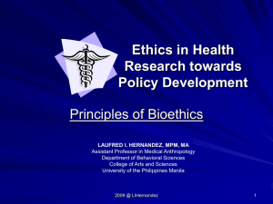 Ethics in Health Research - College of Arts and Sciences