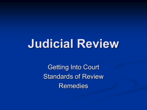 Judicial Review: Getting Into Court