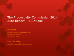 The Productivity Commission 2014: Auto Report
