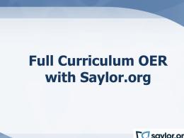 Intro to Saylor - Digital Learning Department