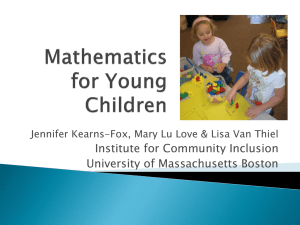 Mathematics for Young Children - Institute for Community Inclusion