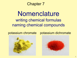 Nomenclature writing chemical formulas naming