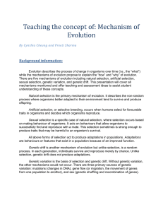 Teaching the concept of: Mechanism of Evolution