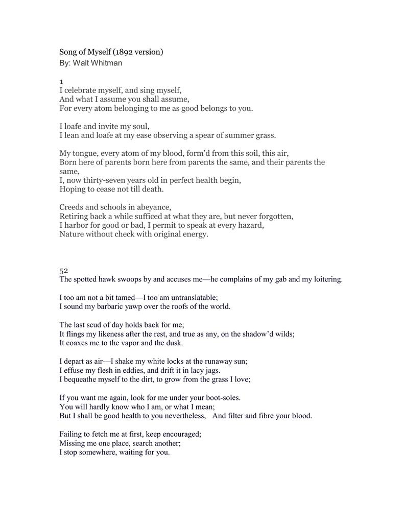 Song Of Myself 1 52 Whitman I Celebrate And Sing Analysis Analysi