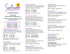 catering menu - Sunflower Cafe