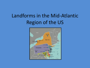Landforms in the Mid-Atlantic Region of the US