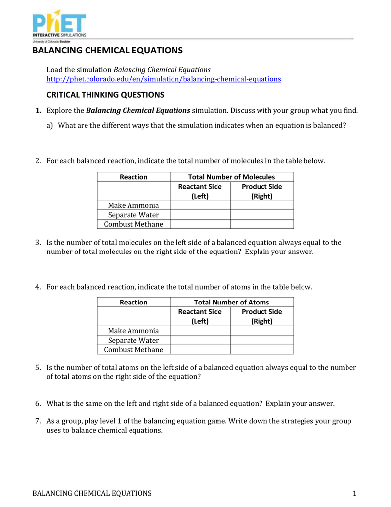 Phet Balancing Chemical Equations Worksheet Answers Tessshebaylo – Balancing Equations Worksheet Answer Key