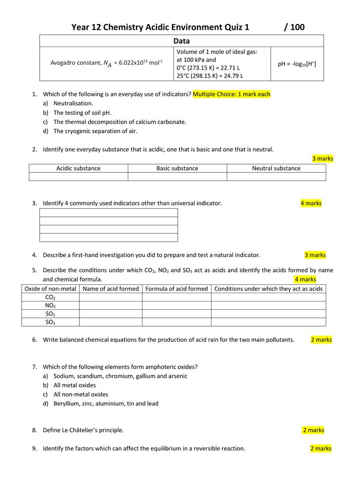Year 12 Chemistry Acidic Environment Practice Quiz 1
