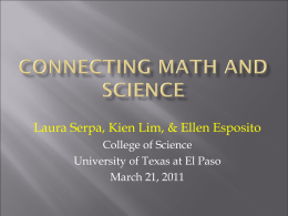 CONNECTING MATH AND SCIENCE