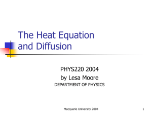 The Heat Equation and Diffusion