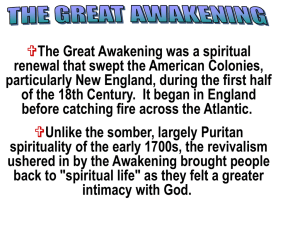 Great Awakening and French and Indian War