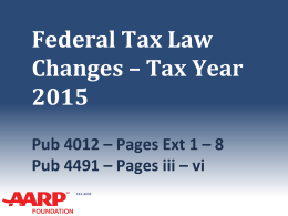 Tax Law Changes 2015 Comments?