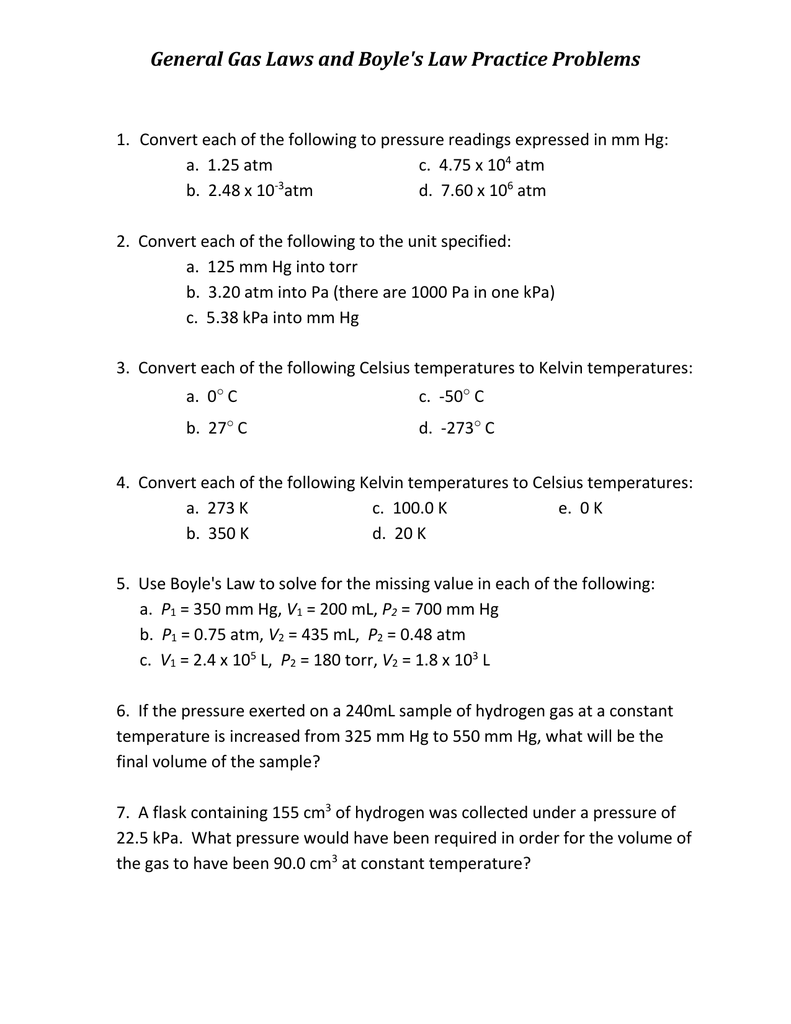 Boyle S Law Practice Worksheet Breadandhearth