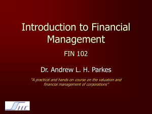 Introduction to Financial Management FIN 102