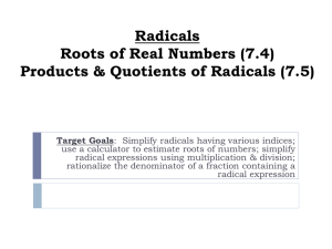 Notes Day 1 Roots of Real Numbers with Products and Quotients 2015
