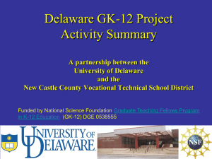 Delaware GK-12 Project Activity Summary