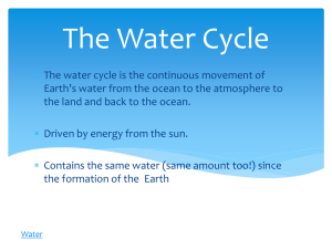 The Water Cycle - Brookville Local Schools