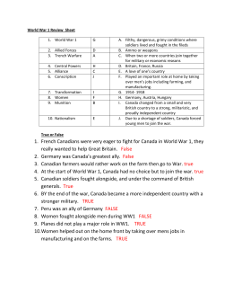 World War 1 Review Sheet -key - 6