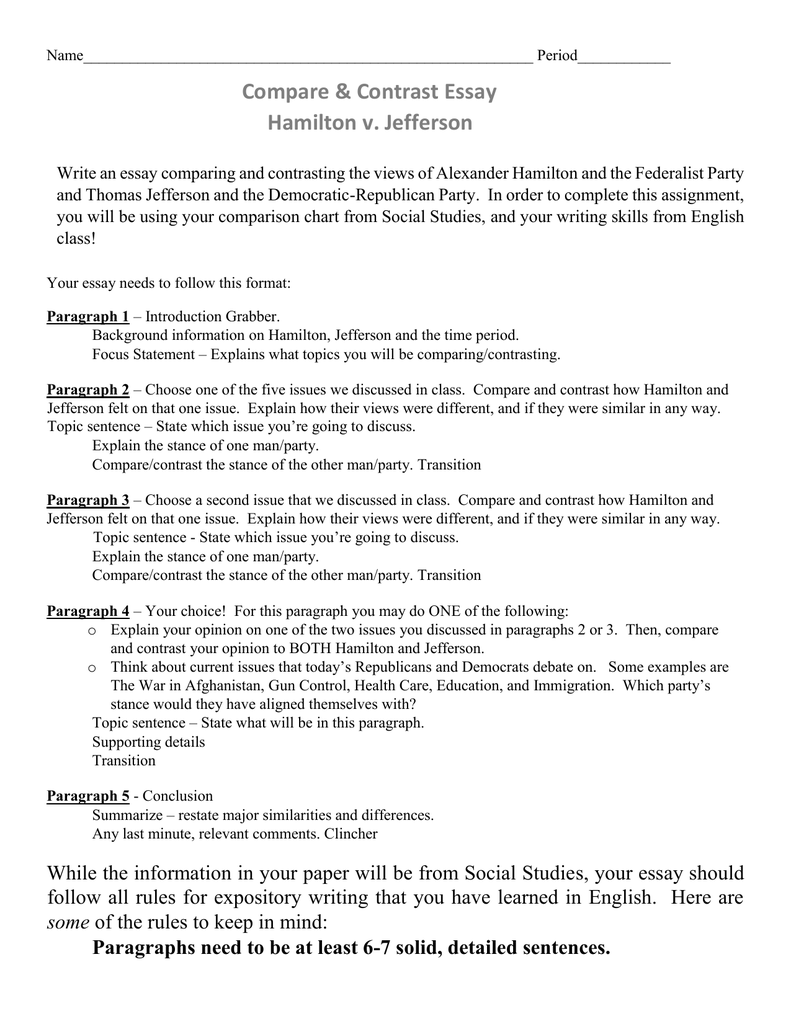 Criticism Essay Example  Essay Gender Equality also Higher Biology Essays Directions And Rubric For Comparison Essay On Hamilton Vs Jefferson Correct Way To Write An Essay