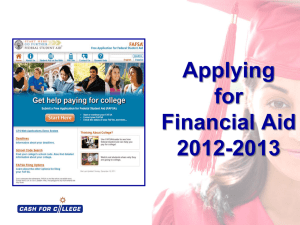 Applying for Financial Aid 2011-12