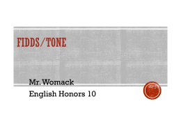 FIDDS/Tone - Mr.Womack's Website