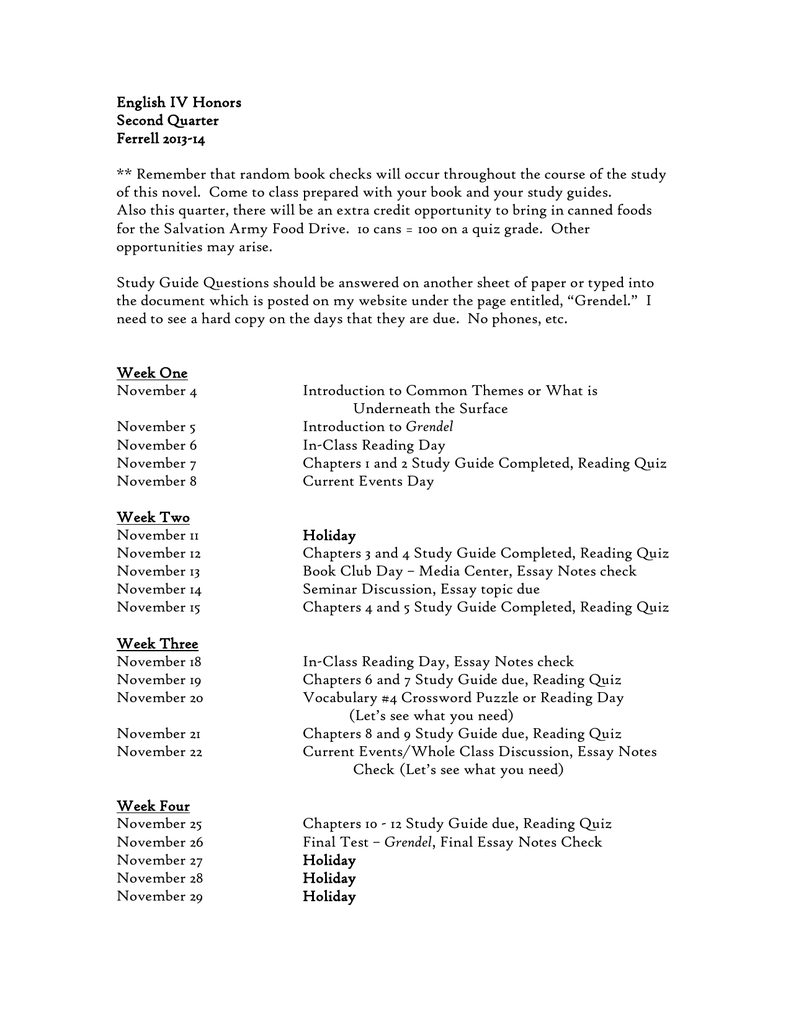 grendel essay topics english iv honors sample cover letter postal  english iv honors