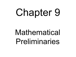 Some Mathematical Preliminaries