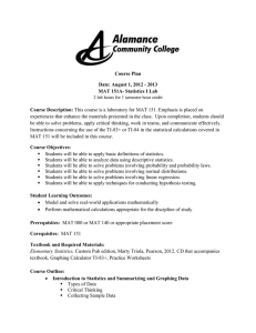 Course Plan Date: August 1, 2012 - 2013 MAT 151A