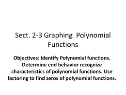 Sect. 2-3 Graphing Polynomial Functions