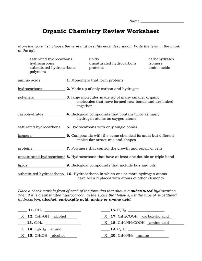 Organic Chemistry Review Worksheet