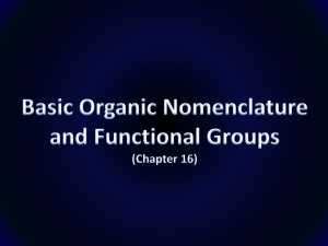 Basic Organic Nomenclature and Functional Groups