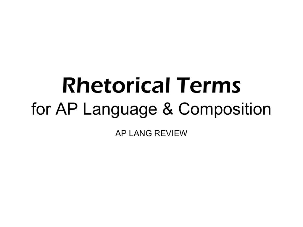 ap lang rhetorical terms