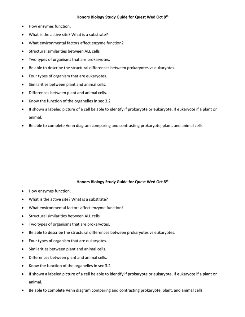 Honors biology study guide for cell quest wed oct 8th pooptronica