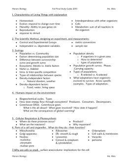 Honors Biology Fall Final Study Guide 2015 Ms. Weis Biology 250