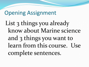 Marine Science Unit 2: Origins of the Ocean and Global Geography