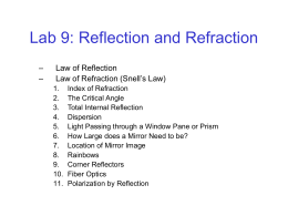 Lab 9: Reflection and Refraction