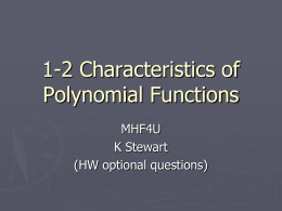 1-2 Characteristics of Polynomial Functions