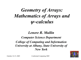 Geometry of Arrays - University at Albany