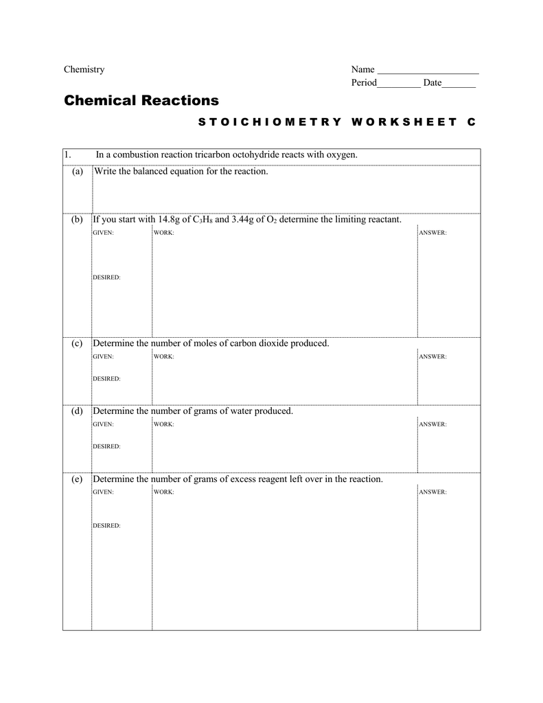 worksheet Limiting And Excess Reactants Worksheet Answers stoichiometry worksheet c