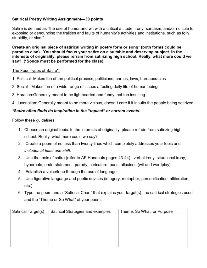 Satirical Poem Assignment And Sample Satirical Poems