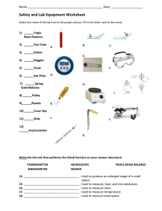 Safety and Lab Equipment Worksheet