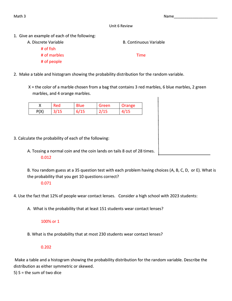 Math 3 Name_____________________ Unit 6 Review 1  Give an