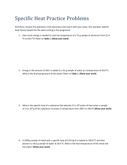 Specific Heat Practice Problems Directions: Answer the questions in