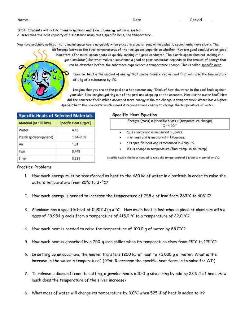Specific Heat Equation Practice Worksheet
