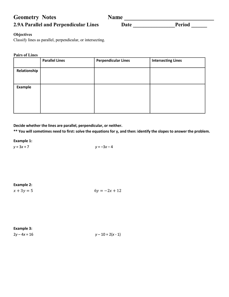 Worksheets Slope Of Parallel And Perpendicular Lines Worksheet parallel and perpendicular lines