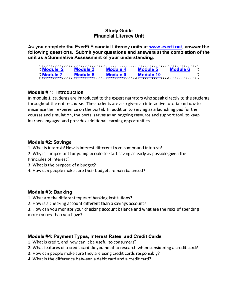 everfi savings answers Study Guide/Summative Assessment