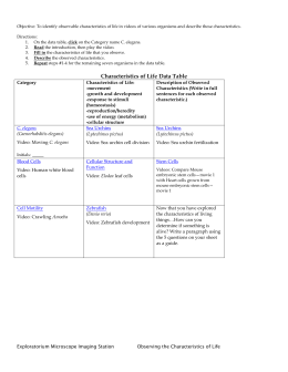 Characteristics of Life Comp Activity instructions