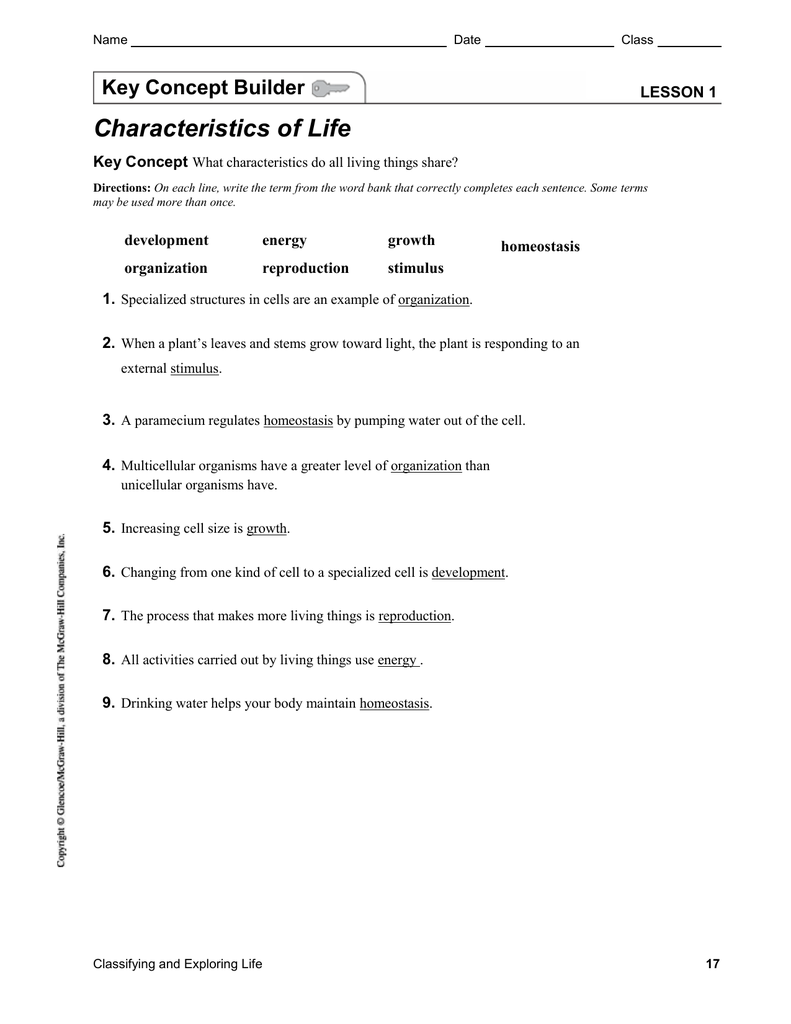 worksheet Unicellular And Multicellular Worksheet key concept builder characteristics of life with