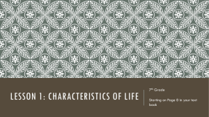 Lesson 1: characteristics of life